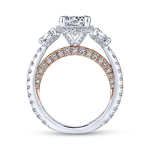 Lily 18k White And Rose Gold Round 3 Stones Halo Engagement Ring angle 2