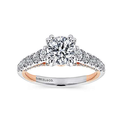 Lily 18k White And Rose Gold Round Straight Engagement Ring