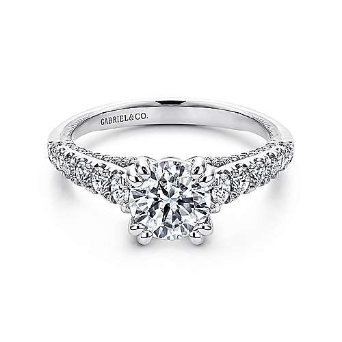 Gabriel - Lily Platinum Round Straight Engagement Ring