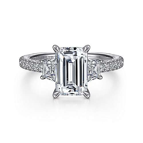 Gabriel - Lincoln 18k White Gold Emerald Cut 3 Stones Engagement Ring