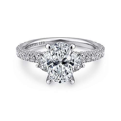 Gabriel - Lincoln 18k White Gold Oval 3 Stones Engagement Ring