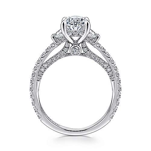 Lincoln 18k White Gold Oval 3 Stones Engagement Ring angle 2