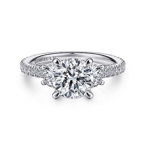 Gabriel - Lincoln 18k White Gold Round 3 Stones Engagement Ring