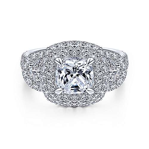 Gabriel - Linda 14k White Gold Cushion Cut Halo Engagement Ring