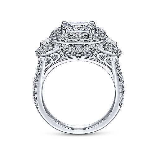 Linda 18k White Gold Cushion Cut Halo Engagement Ring angle 2