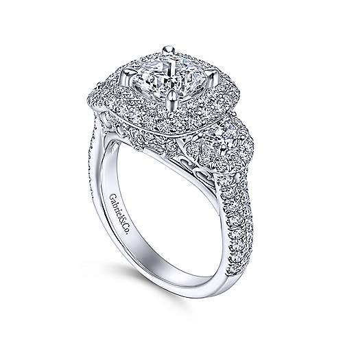 Linda 18k White Gold Cushion Cut Halo Engagement Ring angle 3