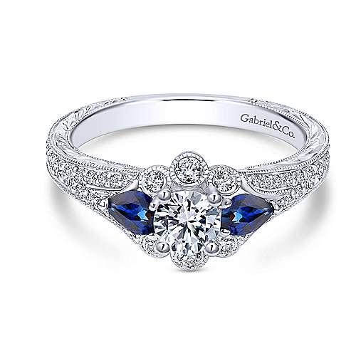Gabriel - Linden 14k White Gold Round 3 Stones Engagement Ring