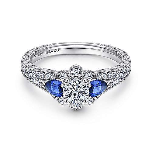 Gabriel - Linden 14k White Gold Round Halo Engagement Ring
