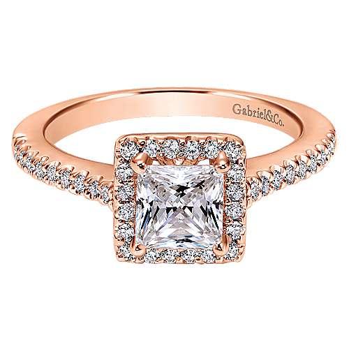 Gabriel - Lindsey 14k Pink Gold Princess Cut Halo Engagement Ring