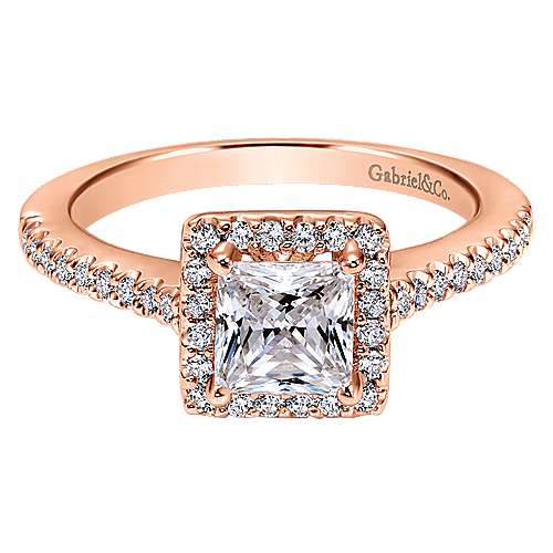Gabriel - Lindsey 14k Rose Gold Princess Cut Halo Engagement Ring