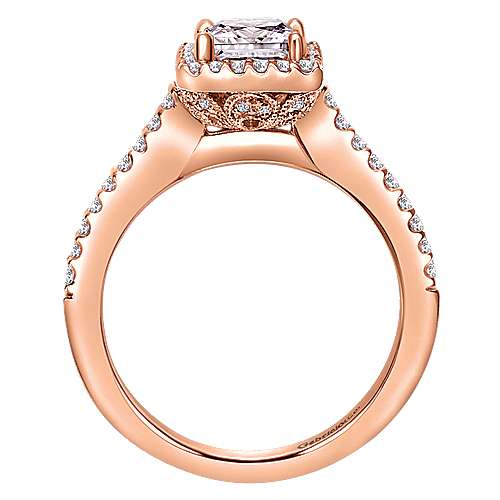 Lindsey 14k Rose Gold Princess Cut Halo Engagement Ring angle 2