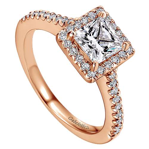 Lindsey 14k Rose Gold Princess Cut Halo Engagement Ring angle 3