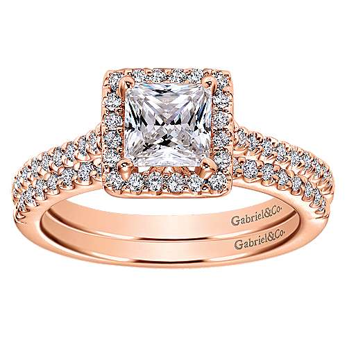 Lindsey 14k Rose Gold Princess Cut Halo Engagement Ring angle 4