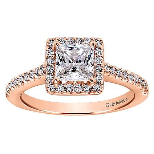 Lindsey 14k Rose Gold Princess Cut Halo Engagement Ring angle 5