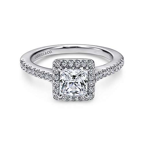 Gabriel - Lindsey 14k White Gold Princess Cut Halo Engagement Ring