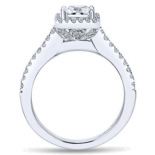Lindsey 14k White Gold Princess Cut Halo Engagement Ring angle 2