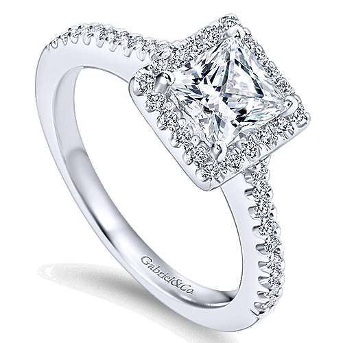 Lindsey 14k White Gold Princess Cut Halo Engagement Ring angle 3