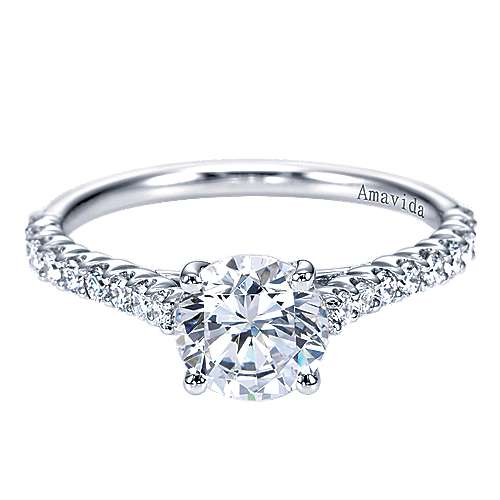 Linen 18k White Gold Round Straight Engagement Ring angle 1