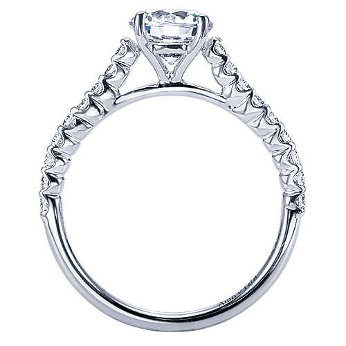 Linen 18k White Gold Round Straight Engagement Ring angle 2