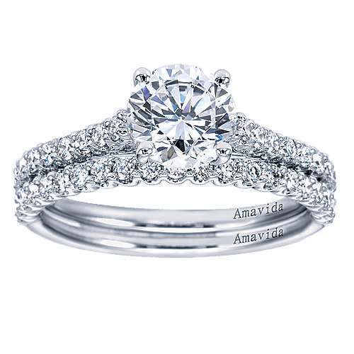 Linen 18k White Gold Round Straight Engagement Ring angle 4