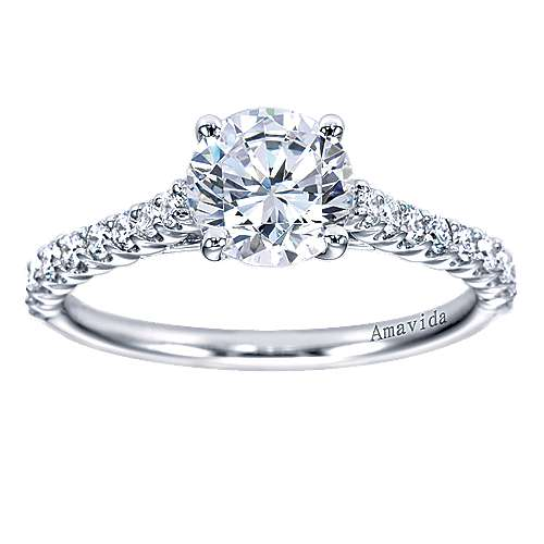 Linen 18k White Gold Round Straight Engagement Ring angle 5