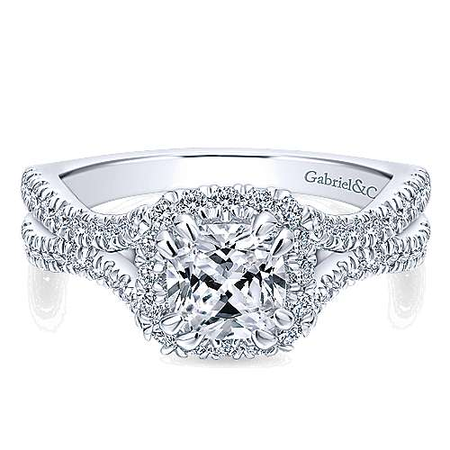 Gabriel - Linnea 14k White Gold Cushion Cut Halo Engagement Ring