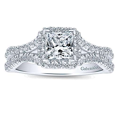 Linnea 14k White Gold Princess Cut Halo Engagement Ring