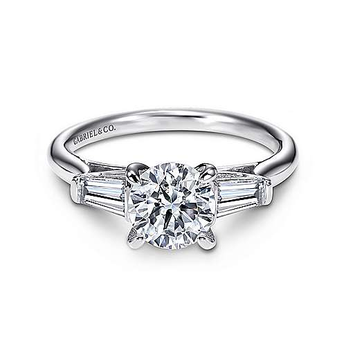 Lisbeth 14k White Gold Round 3 Stones Engagement Ring angle 1