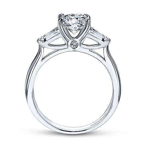 Lisbeth 14k White Gold Round 3 Stones Engagement Ring angle 2