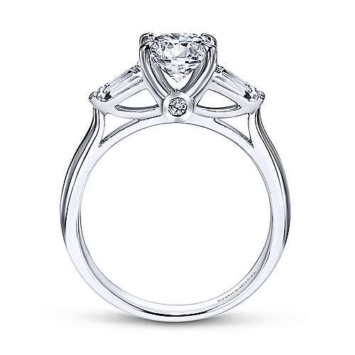 Lisbeth 14k White Gold Round 3 Stones Engagement Ring