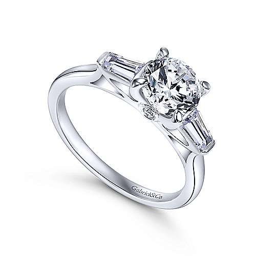Lisbeth 14k White Gold Round 3 Stones Engagement Ring angle 3