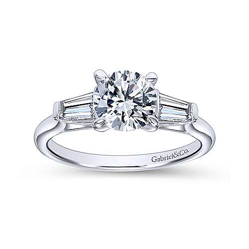 Lisbeth 14k White Gold Round 3 Stones Engagement Ring angle 5