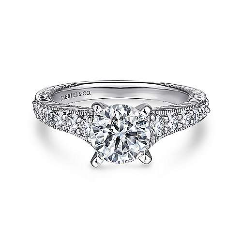 Lisette 14k White Gold Round Straight Engagement Ring angle 1