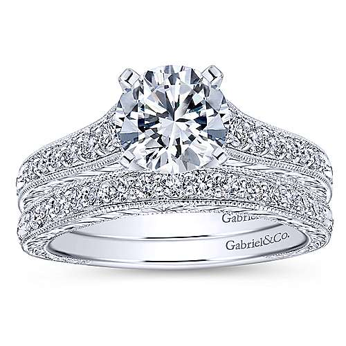 Lisette 14k White Gold Round Straight Engagement Ring angle 4
