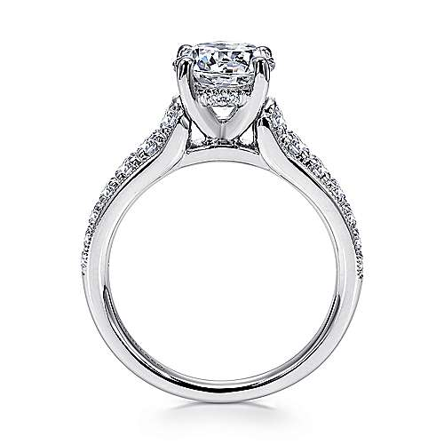 Lively 18k White Gold Round Straight Engagement Ring