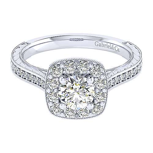 Gabriel - Lizzie 14k White Gold Round Halo Engagement Ring