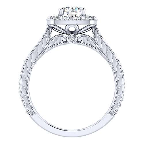 Lizzie 14k White Gold Round Halo Engagement Ring angle 2