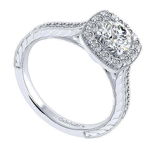 Lizzie 14k White Gold Round Halo Engagement Ring angle 3