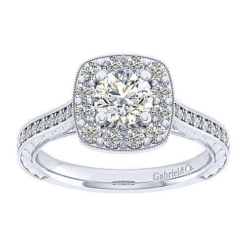 Lizzie 14k White Gold Round Halo Engagement Ring