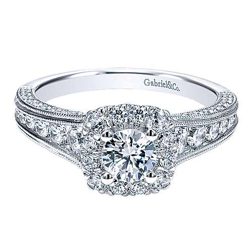 Gabriel - Loa 14k White Gold Round Halo Engagement Ring