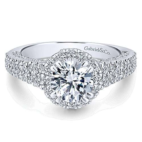 Gabriel - Locarno 14k White Gold Round Halo Engagement Ring
