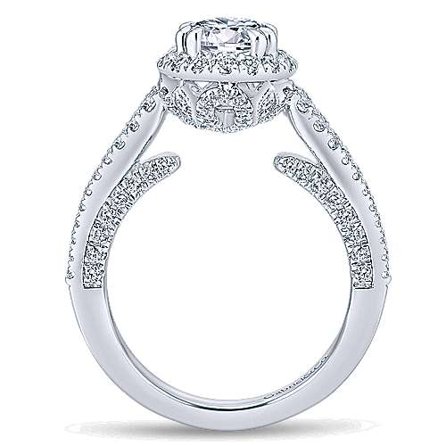 Locarno 14k White Gold Round Halo Engagement Ring