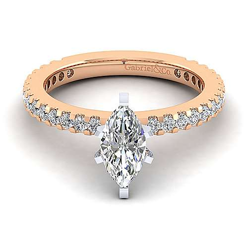 Logan 14k White And Rose Gold Marquise  Straight Engagement Ring angle 1