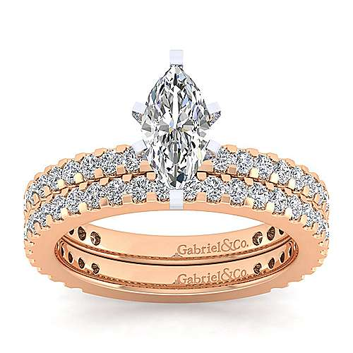 Logan 14k White And Rose Gold Marquise  Straight Engagement Ring angle 4