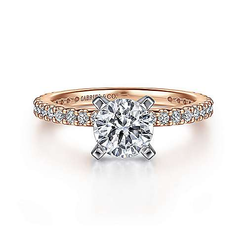 Gabriel - Logan 14k White And Rose Gold Round Straight Engagement Ring
