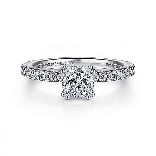 Gabriel - Logan 14k White Gold Cushion Cut Straight Engagement Ring