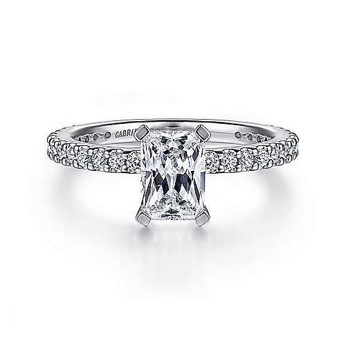 Gabriel - Logan 14k White Gold Emerald Cut Straight Engagement Ring