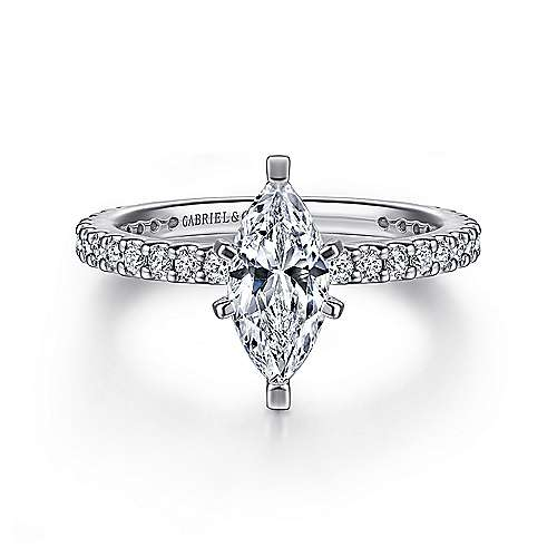 Gabriel - Logan 14k White Gold Marquise  Straight Engagement Ring