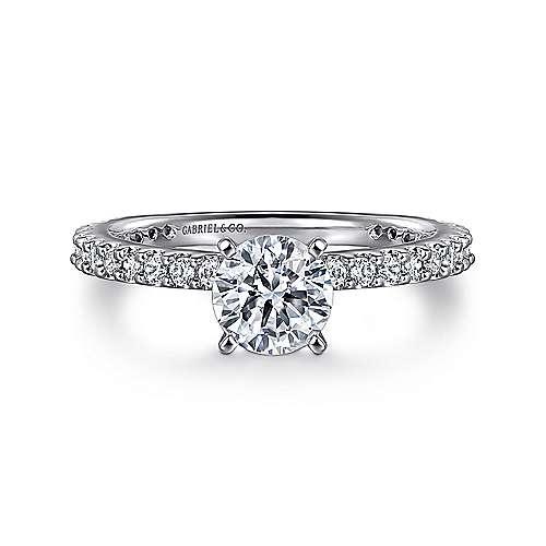 Gabriel - Logan 14k White Gold Round Straight Engagement Ring