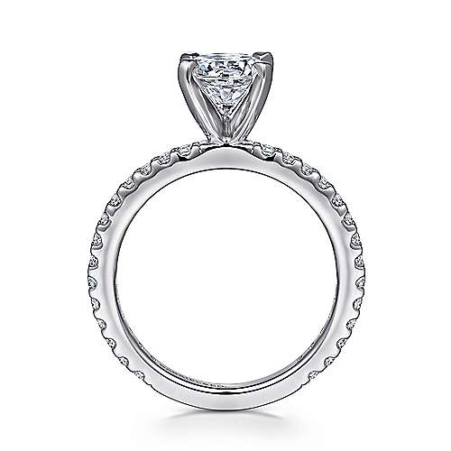 Logan 14k White Gold Round Straight Engagement Ring angle 2
